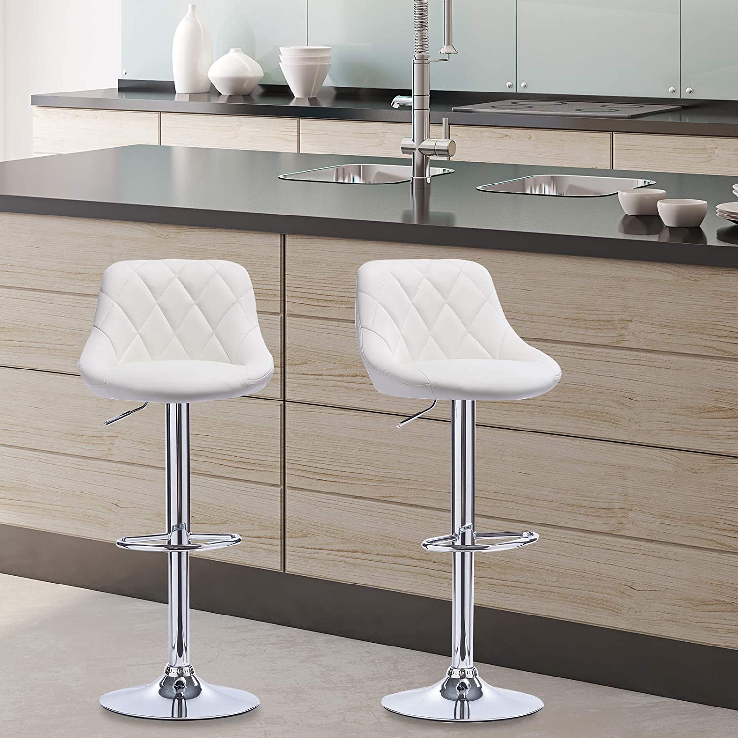 E-starain Set of 2 Bar Stools with Backrest, Faux Leather, Swivel BarStools Dining Stools for Breakfast Bar, Kitchen,Gas Lift Adjustable Seat height:60 to 82cm cream White