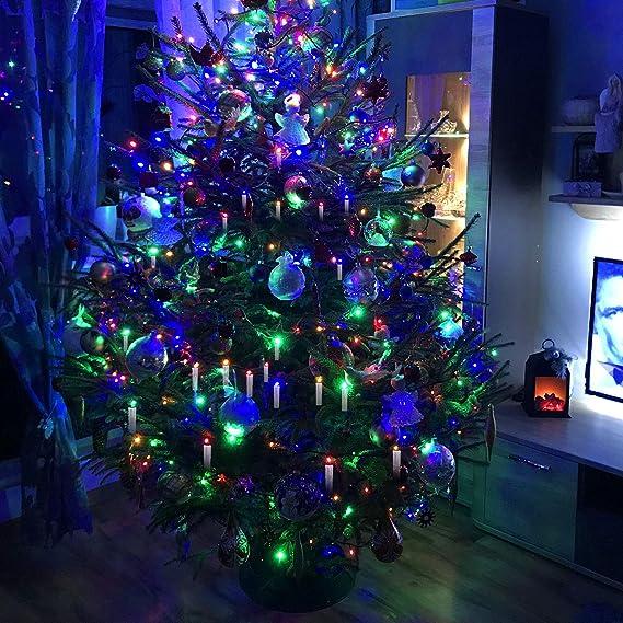 Hengda 30 velas de Navidad LED inalámbricas, con mando a distancia, temporizador, blanco cálido y RGB velas inalámbricas, velas LED para árbol de Navidad, decoración navideña, resistente al agua: Amazon.es: Iluminación