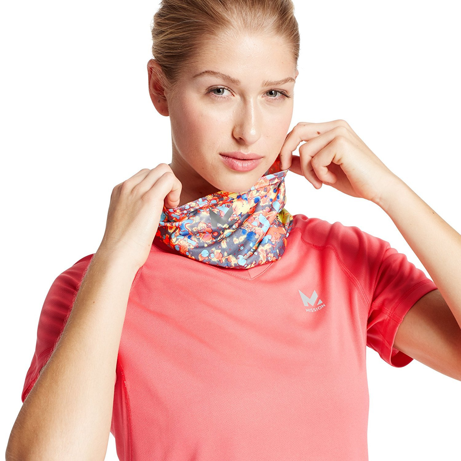 Mission HydroActive Fitness Graffitti Pattern High Vis Coral One Size Mission Athlete Care 109030-P
