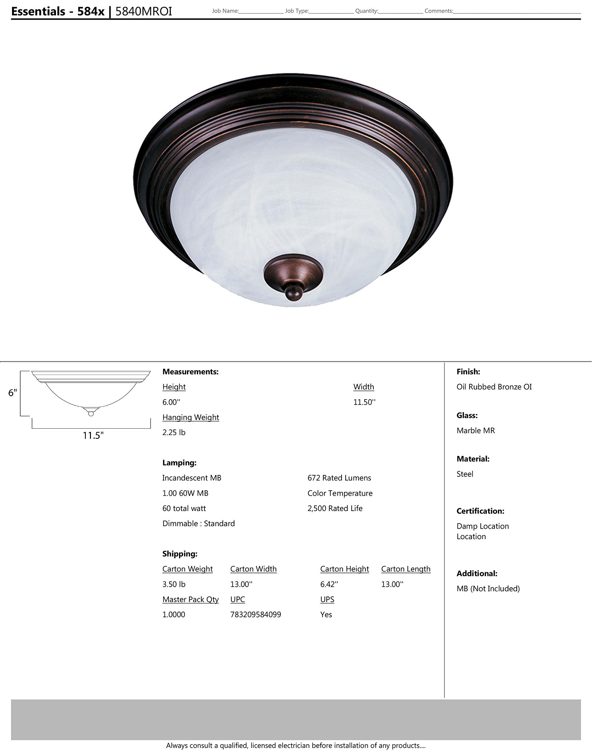 Maxim 5840MROI Essentials 1-Light Flush Mount, Oil Rubbed Bronze Finish, Marble Glass, MB Incandescent Incandescent Bulb , 13W Max., Dry Safety Rating, 2700K Color Temp, Glass Shade Material, 4500 Rated Lumens by Maxim Lighting (Image #1)
