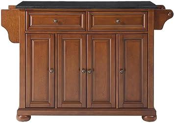 Crosley Furniture KF30004ACH Alexandria Kitchen Island with Solid Black  Granite Top, 52\