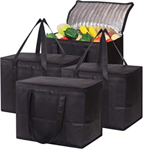 Set of 4 Large Insulated Reusable Grocery Bags with Sturdy Zipper and Handles, Foldable Washable Heavy Duty Cooler Totes for Hot or Cold Food Delivery, Groceries, Travel, Shopping