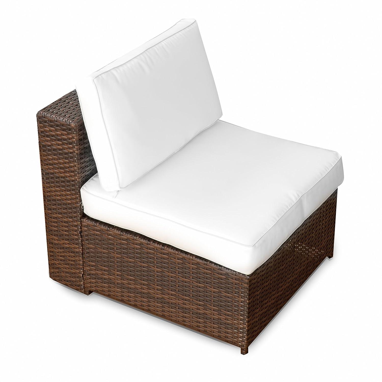 (1er) Polyrattan Lounge Möbel Mittel Sessel braun-mix - Gartenmöbel (1er) Polyrattan Lounge Mittel Sessel, Lounge Mittel Sofa, Lounge Mittel Stuhl - durch andere Polyrattan Lounge Gartenmöbel Elemente erweiterbar XINRO