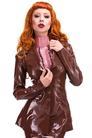 Jackets & Coats Fast Deliver Latex Rubber Jacket With Valance For Woman Parkas