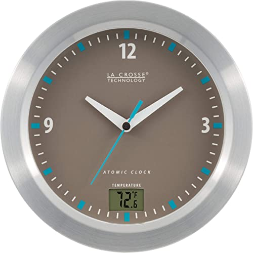 La Crosse Technology WT-3108-BBB 7.5 inch Water Resistant Atomic Clock with Temperature, Silver