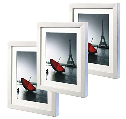 Amazon.com: 8 x 10 White Picture Frame Set of 3 Made to Display ...