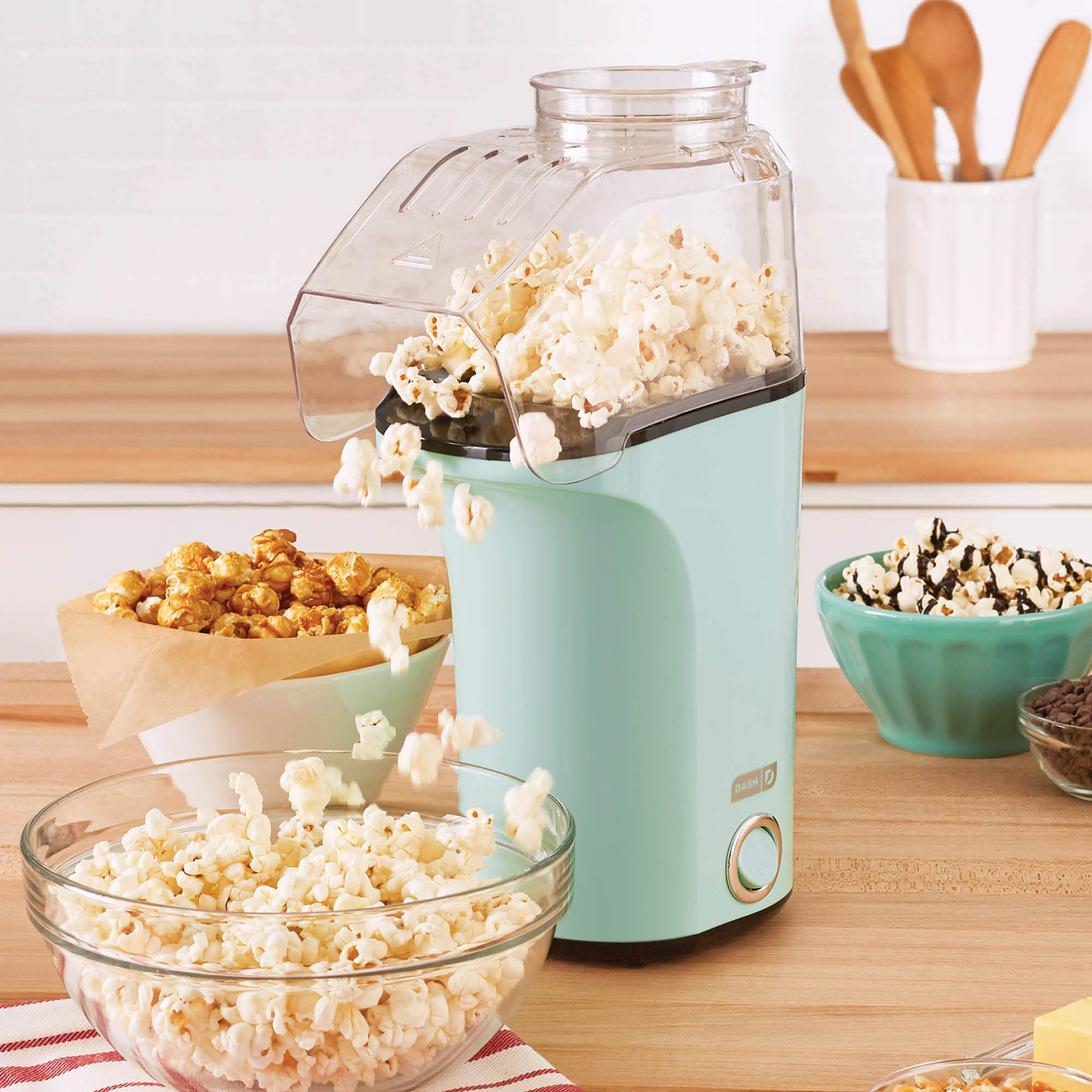 Dash DAPP150V2AQ04 Hot Air Popcorn Popper Maker with with Measuring Cup to Portion Popping Corn Kernels + Melt Butter, Makes 16C, Aqua by DASH (Image #2)