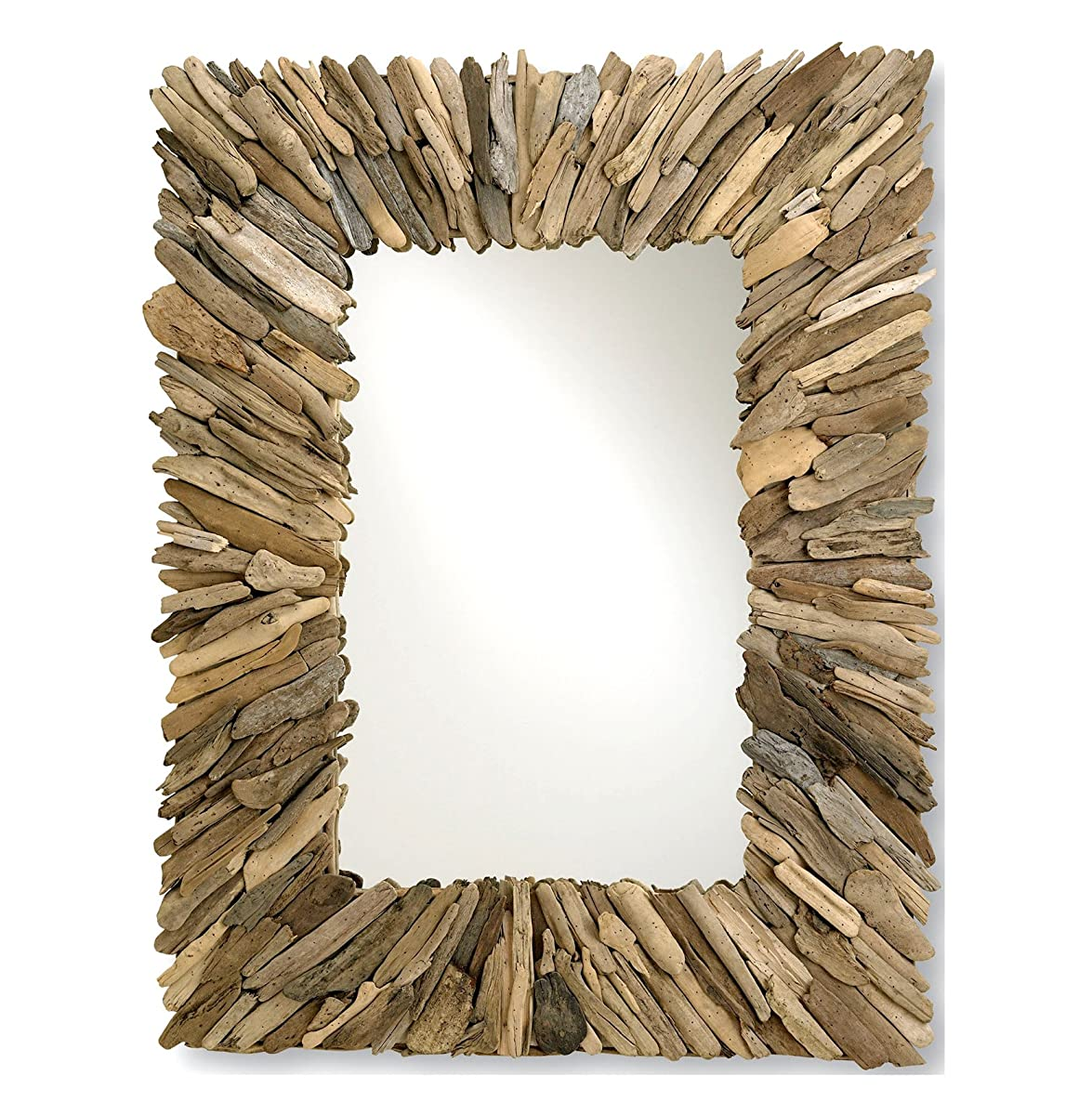Kathy Kuo Home Bonita Coastal Beach Rectangular Rustic Driftwood Wall Mirror