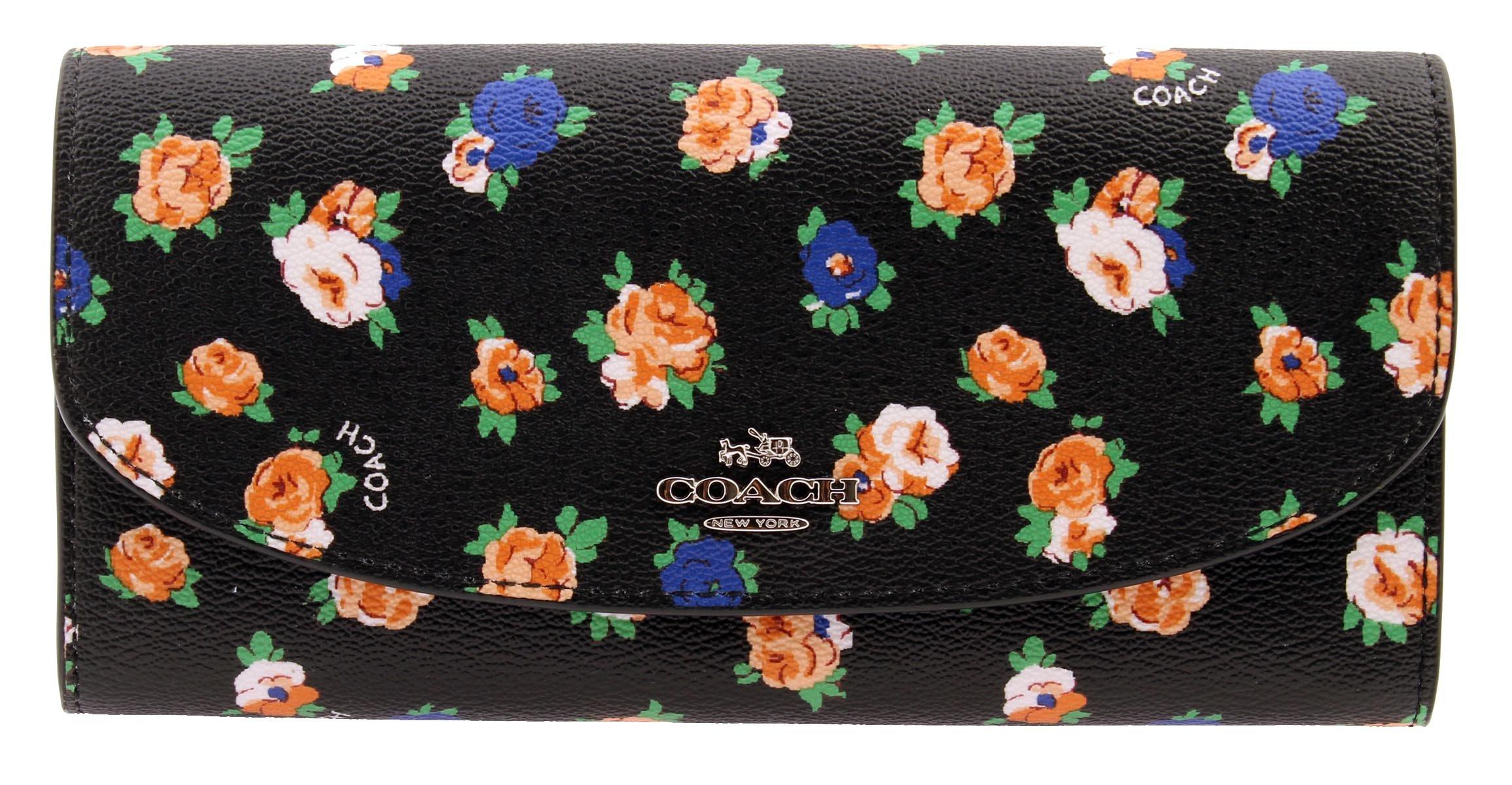 COACH Crossgrain Leather Floral Printed Slim Envelope Wallet (Black Multi)