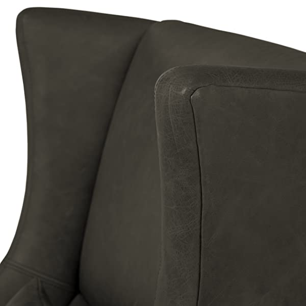 "Stone & Beam Modern Leather Wingback Chair, 32.75""W, Black"
