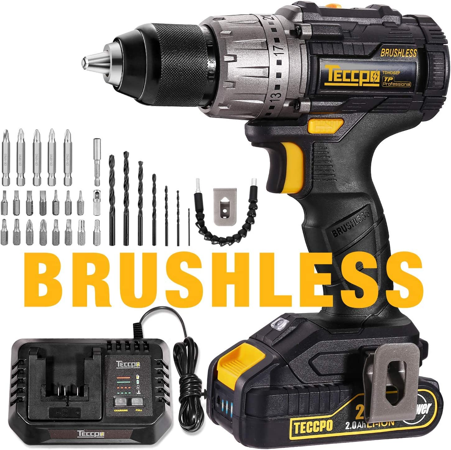 Brushless Drill Driver, 20V MAX TECCPO 530 In-lbs Compact Cordless Drill, 30mins Fast Charger 4.0A, 2.0Ah Li-ion Battery, 21 1 Torque Setting, LED Light, 29pcs Accessories – TDHD02P