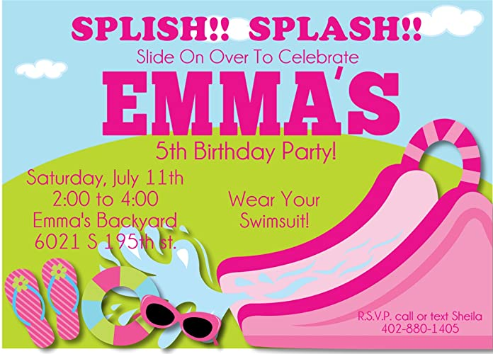 Image Unavailable Not Available For Color Girls Water Slide Birthday Party Invitations