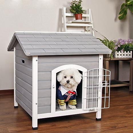 Petsfit Casa de perro de interior con puerta de hierro, abrigo de madera de perro