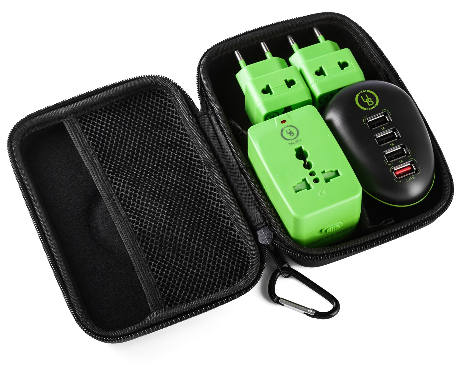 Travel Kit by Yubi Power Set of 4 Port USB Charging Station - EU Plug + universal Adapter 2 universal outlets with fold-able plugs Type C - G - A - I + 2 universal adapters Type C plug + carrying case