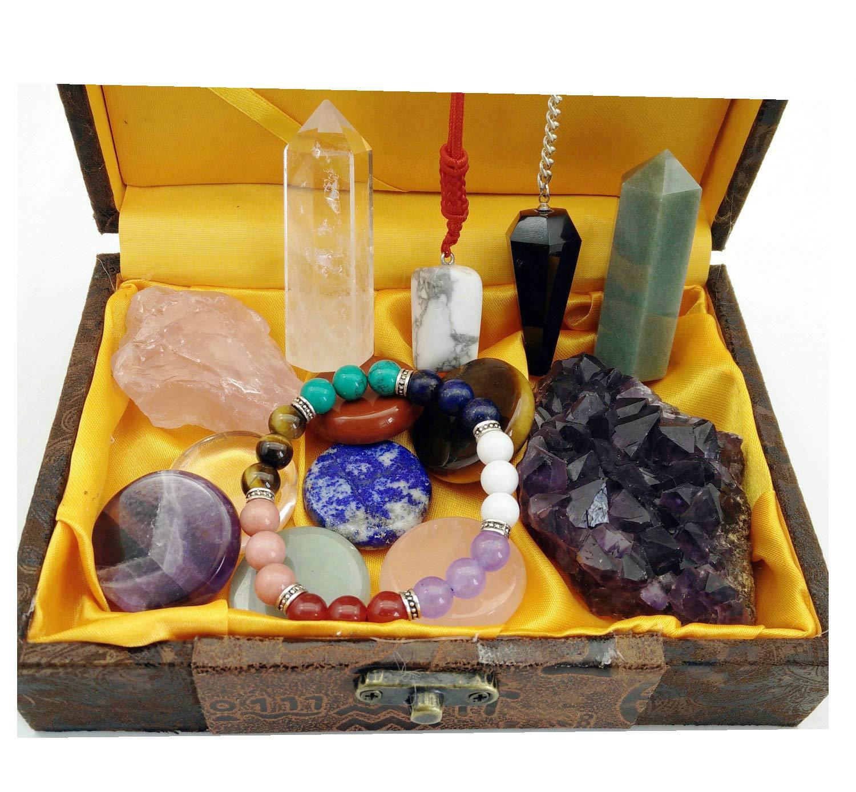 Healing Crystal Gift//Balancing Chakra Kit 14 Piece:7 Chakra Palm Stones,Amethyst Cluster 2 Crystal Points,Raw Pink Quartz,Reiki Pendulum,Chakra Bracelet,Pendant,Reference Guide,Use for Meditation
