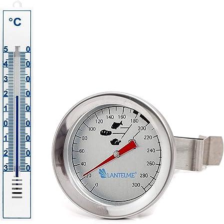 Lantelme 7443 Acero Inoxidable freidoras Termómetro y plástico termómetro de Cocina Color Blanco Set – Freidora de Grasa Termómetro Resistente al Agua: Amazon.es: Hogar