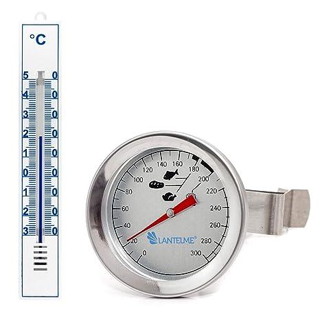 Lantelme 7443 Acero Inoxidable freidoras Termómetro y plástico termómetro de Cocina Color Blanco Set – Freidora