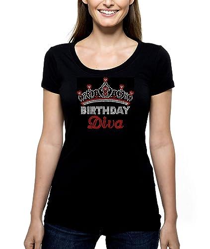Birthday Diva Crown RHINESTONE T Shirt Tee Bling