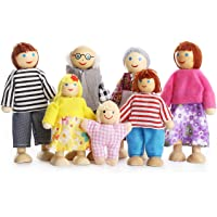 PUCKWAY Kids Girls Lovely Happy Dolls Family Playset Wooden Figures Set of 7 People for Children Dollhouse Pretend Gift