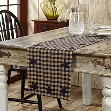 VHC Brands 20134 Classic Country Primitive Tabletop & Kitchen - Star Blue Woven Runner, 13  x 36 , Navy