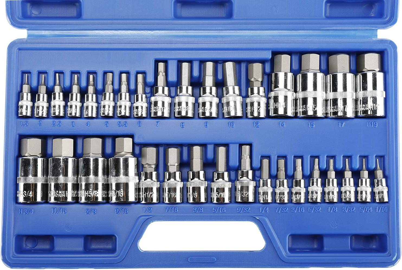 8MILELAKE 34pcs Hex Master Socket Bits Kit SAE and Metric S2 Steel