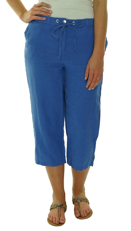 JM Collection Linen Roll Tab Drawstring Capri Pants