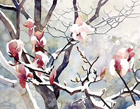 Amazon snowy magnolias gicle print of pink magnolia flowers snowy magnolias gicle print of pink magnolia flowers in the snow 15 x 19 mightylinksfo