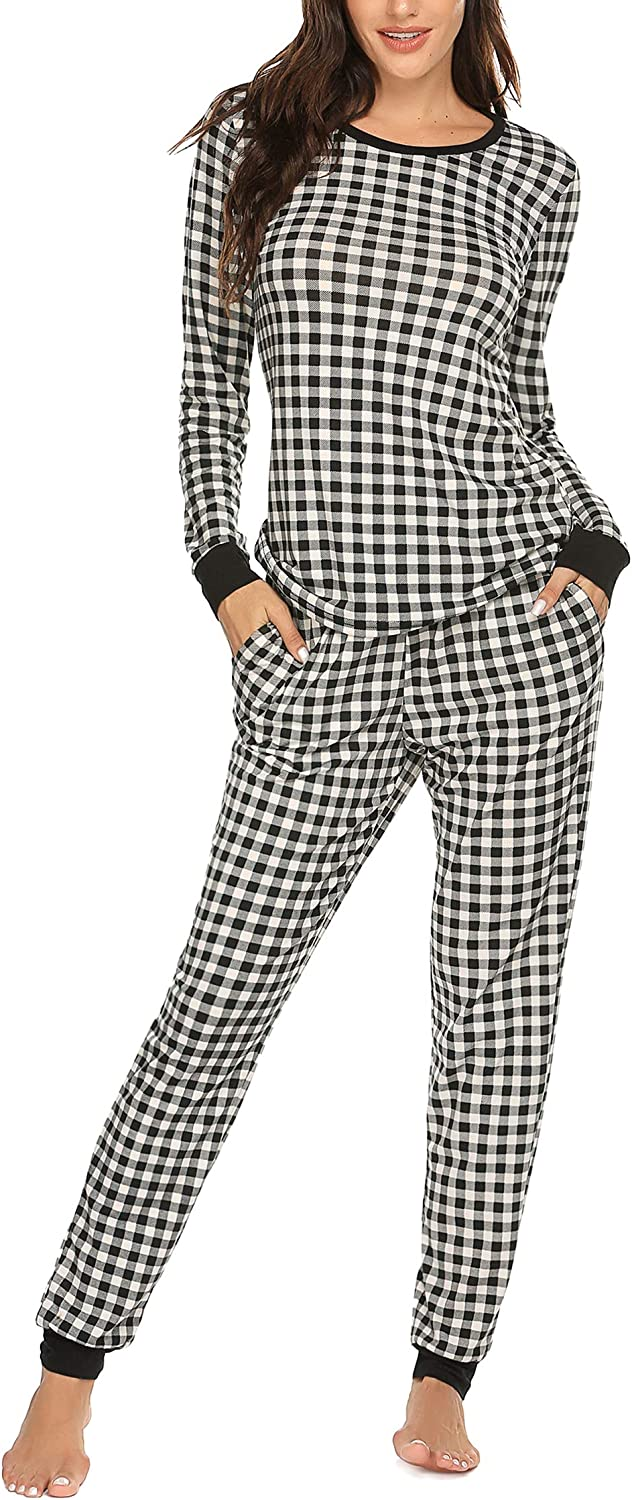 Ekouaer Women's Pajama Set Plaid Pj Long Sleeve Sleepwear Soft Contrast 2 Piece Lounge Sets