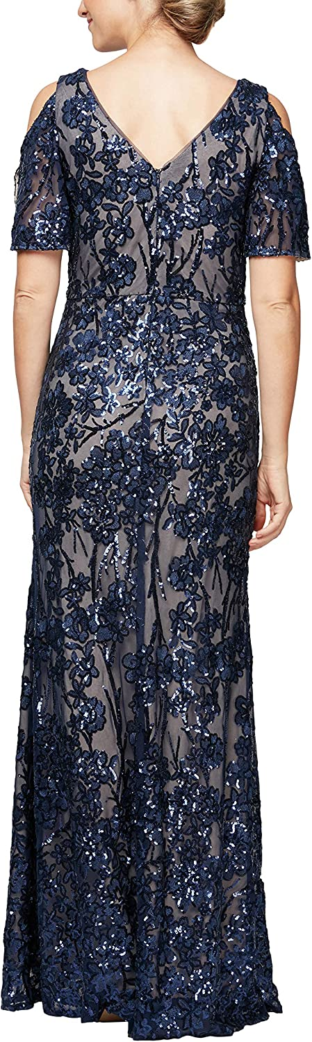 Alex Evenings Womens Long Sequin Dress with Flutter Sleeves Special Occasion Dress