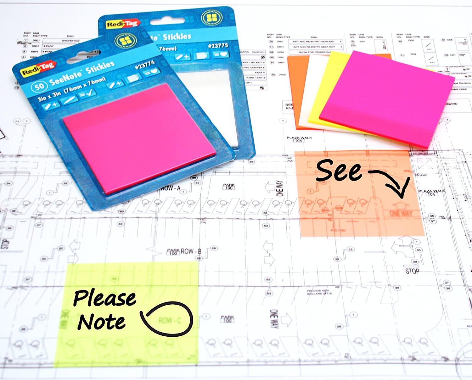 Redi-Tag-SeeNote Stickies Transparent Sticky Notes, 50-Pack, 3 X 3-Inch, Neon Magenta-23774