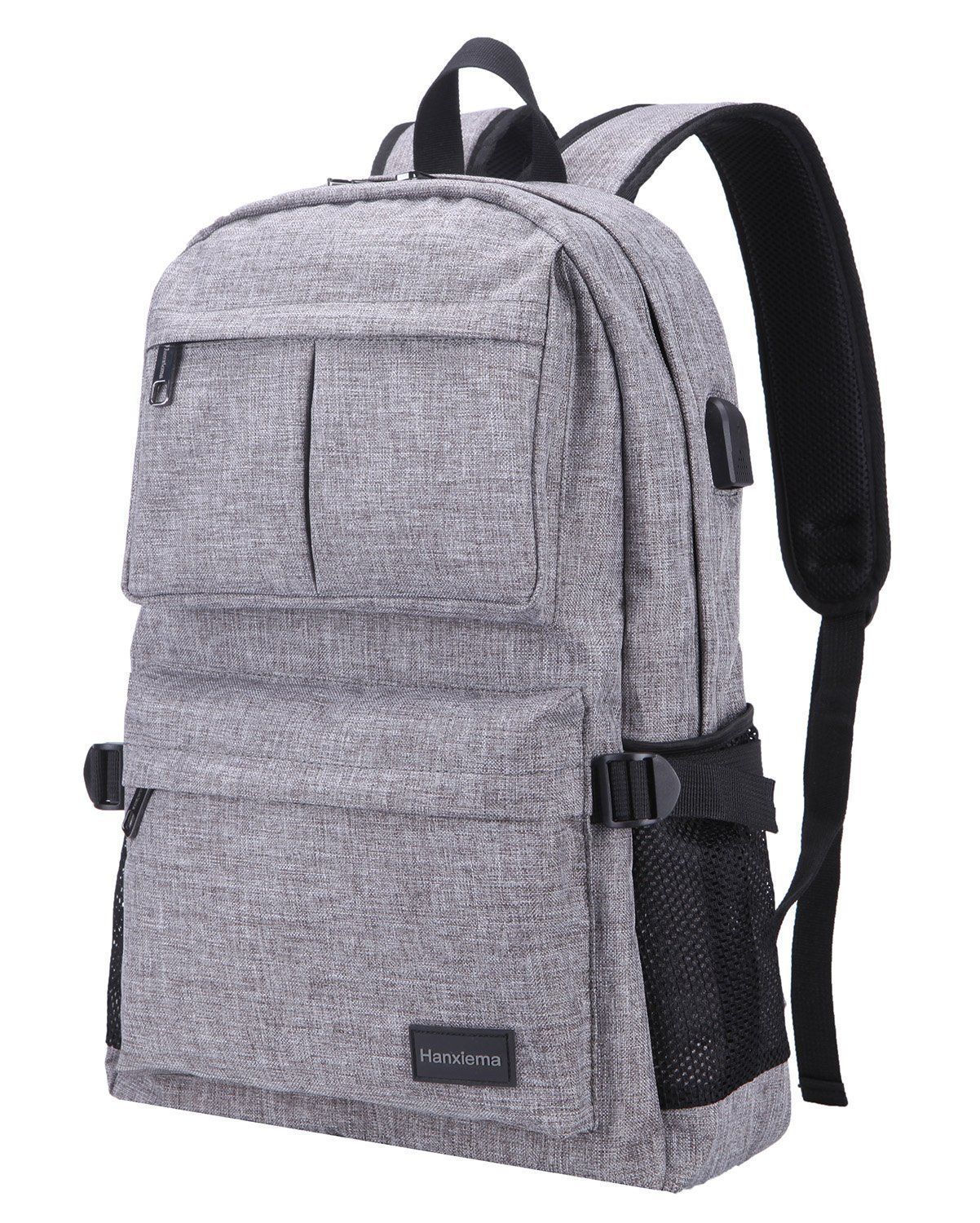 Hanxiema Travel Laptop Backpack Fit 15.6 Inch Laptop or Macbook Oxford Cloth with USB Charging Port Large Capacity School Computer Bag for Men Women (Grey HXm-02-1)