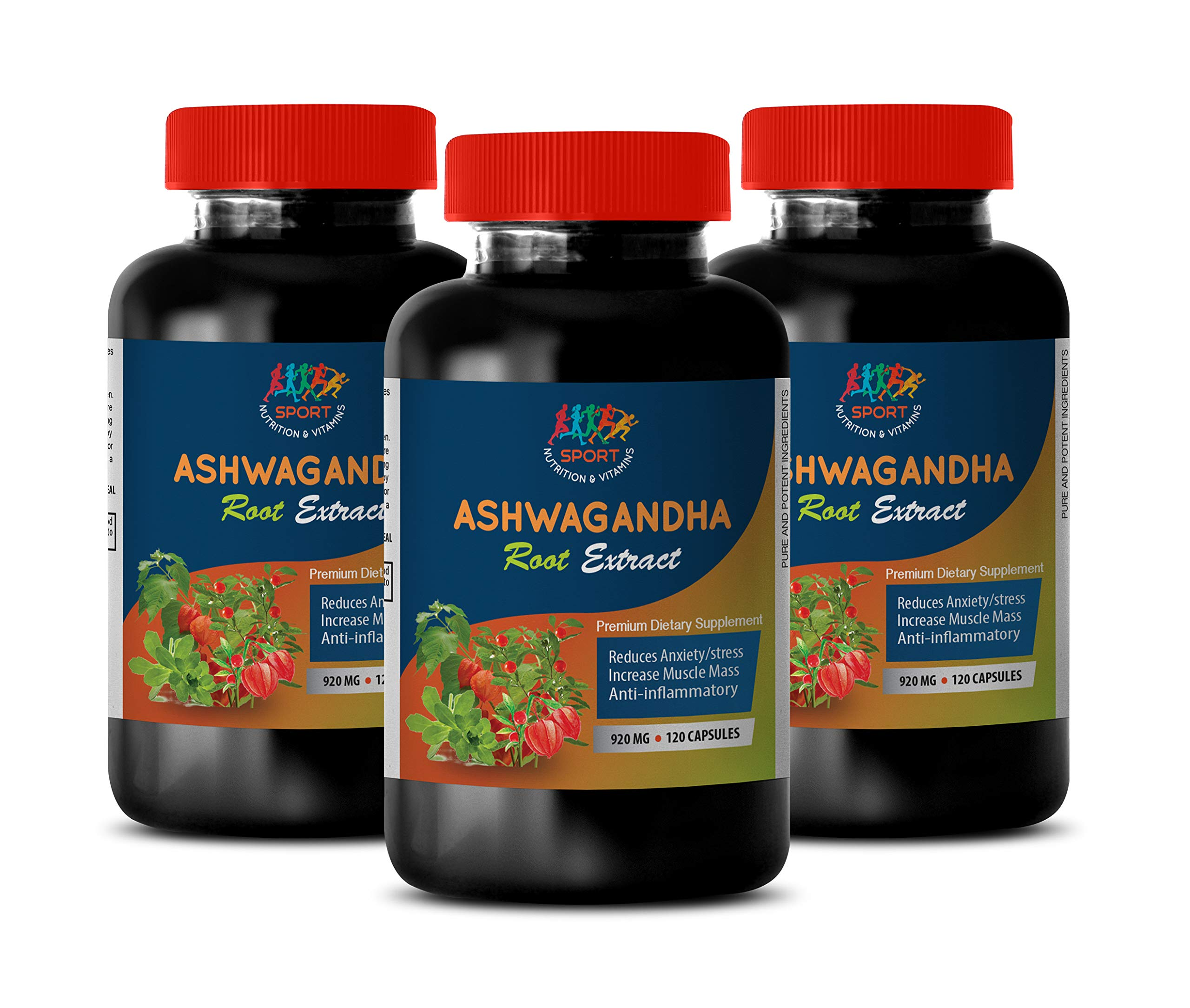 Natural Depression and Anxiety Relief - Ashwagandha Root Extract 920mg - Testosterone Booster for Men Muscle Growth Pills - 3 Bottles 360 Capsules
