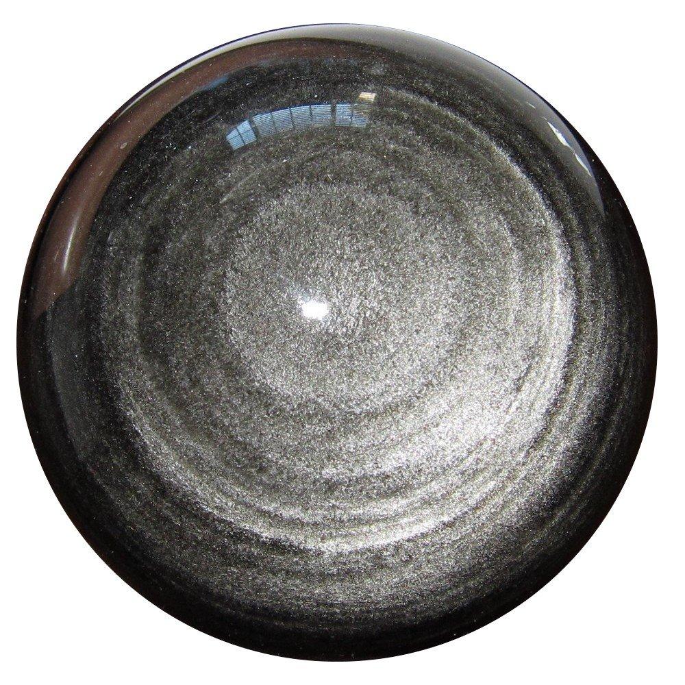 Obsidian Ball Silver 15 Glitter Sheen Crystal Healing Stone Aura Chakra Protection Orb Sphere 2.8 Satin Crystals obsidianballsilver15