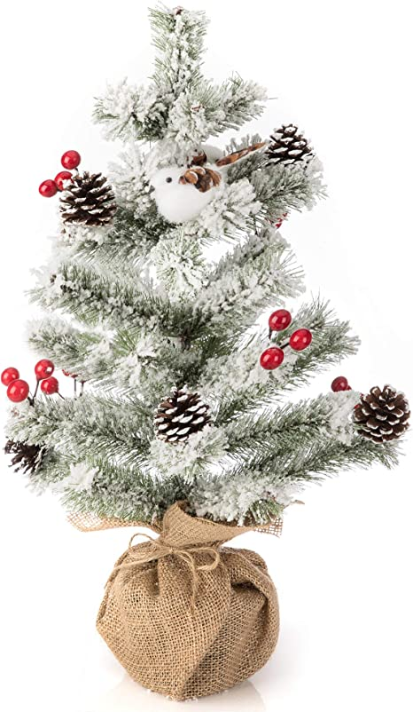 Amazon Com Ipegtop 18 Inch Artificial Snowy Tabletop Christmas Tree With Birds Pine Cone Red Berries And Snowflake Desktop Tabletop Small Christmas Tree Pencil Pine Tree In Burlap Base Home Kitchen