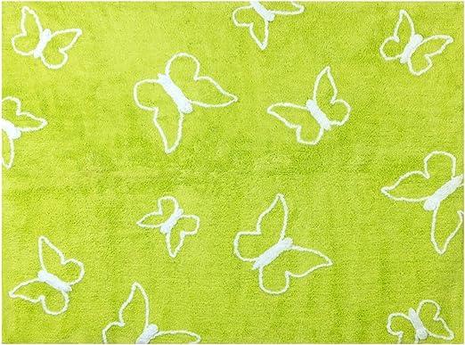 Alfombra Infantil algodón Mariposas, Tela, Vert Pistache, 120x160 ...