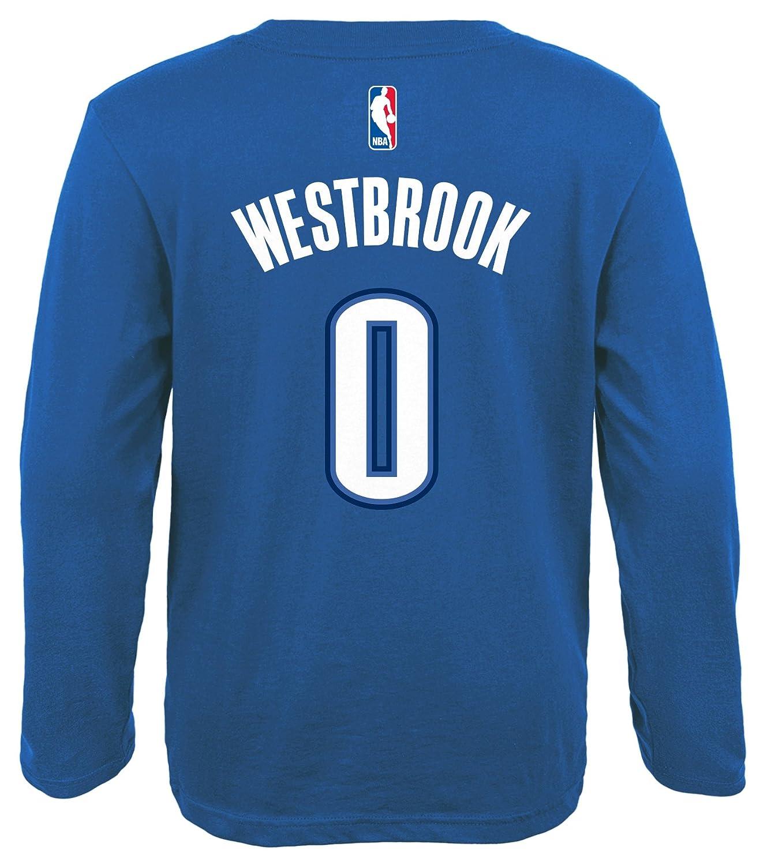 Adidas - Gorra del Equipo de Baloncesto de la NBA Juventud Russell Westbrook Oklahoma City Thunder Reproductor Nombre y número de Manga Larga Jersey ...