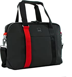Acme Made North Point Attaché - Bolsa de Moda, Color Negro Mate y Mandarina