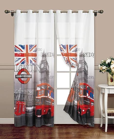 Tende Per Interni Con Anelli.Takestop Tenda London Fantasia Londra British Uk Stampe 140x280cm A Pannello Con Anelli Per Arredo Interni Porta Finestra Per Bastone
