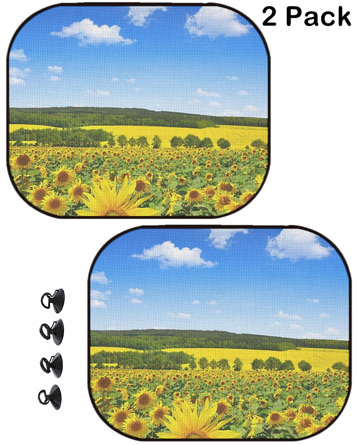 2 Pack Image ID 24590571 Spring Landscape with Sunflower Field MSD Car Sun Shade Protector Side Window Block Damaging UV Rays Sunlight Heat for All Vehicles