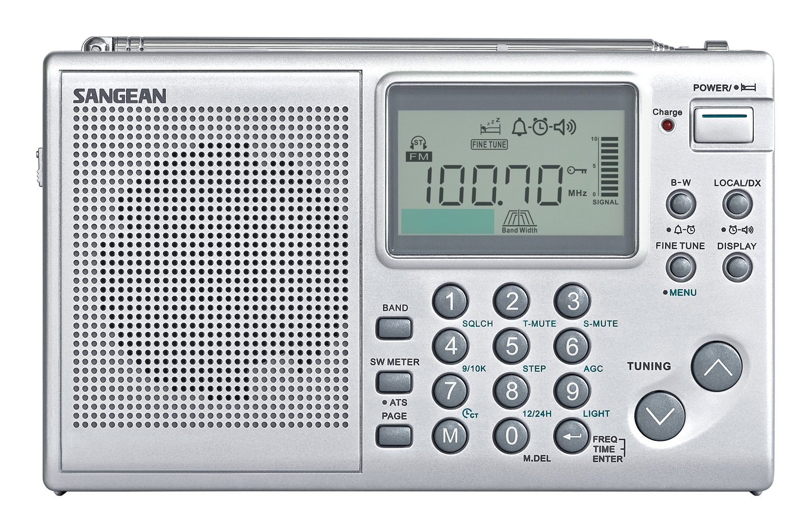 Sangean All in One AM/FM/SW Professional Digital Multi-Band World Receiver Radio with Large Easy to Read Backlit LCD Display