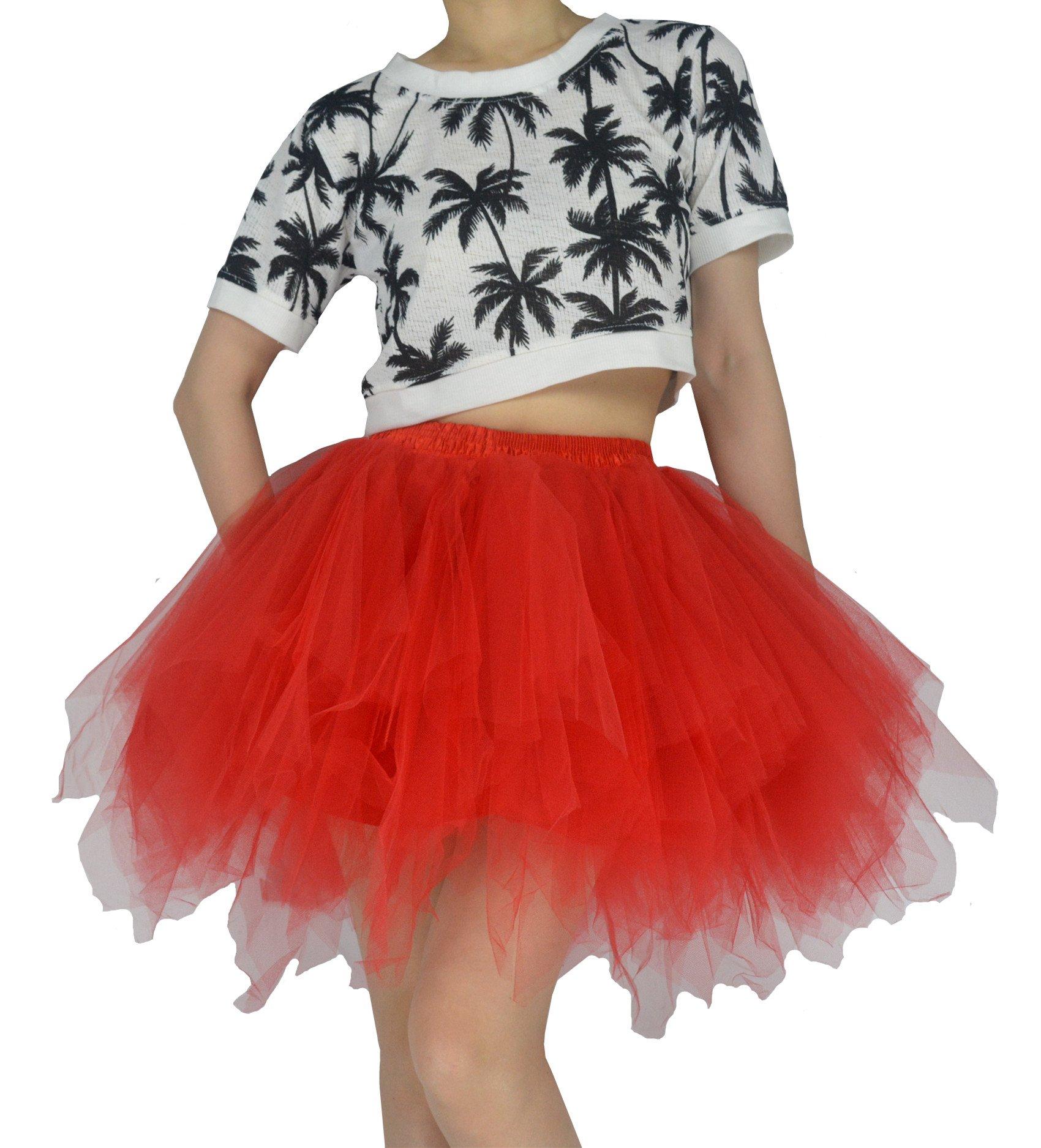 YSJERA Women's Tutu Tulle Mini A-Line Petticoat Prom Party Cosplay Skirt Fun Skirts (XL, Red)