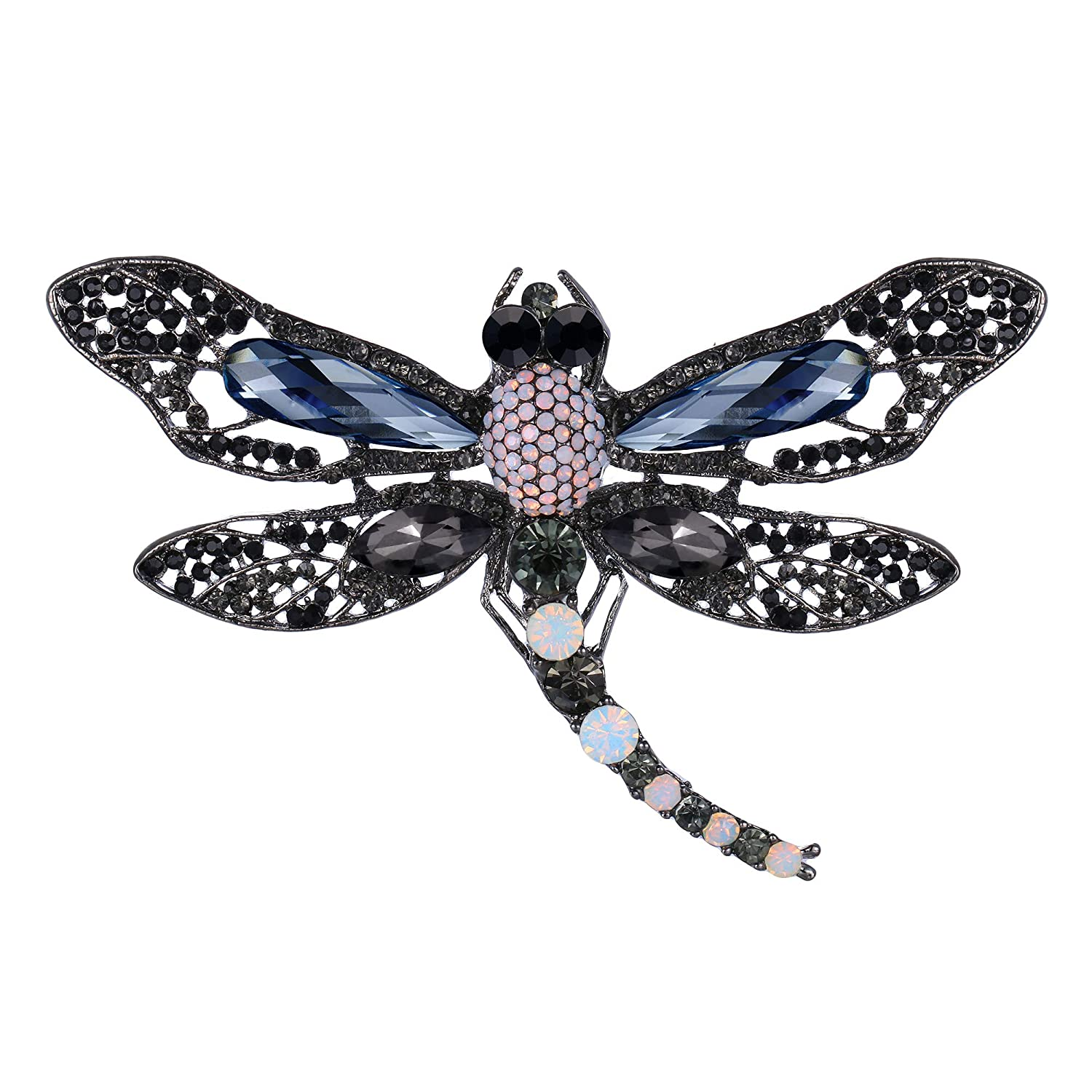 EVER FAITH Womens Austrian Crystal Emanel Party Lovely Dragonfly Insect Animal Brooch