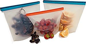 KingsGlobal Reusable Silicone Food Storage Bag (3 Pack) Eco-Friendly Non-Plastic Pouch Stores Your Lunch Snacks Sandwiches Produce | Airtight Leak Proof Seal, Suitable for Freezer Fridge