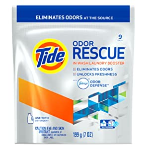 Tide Odor Rescue In-Wash Laundry Booster Pacs, 9 count