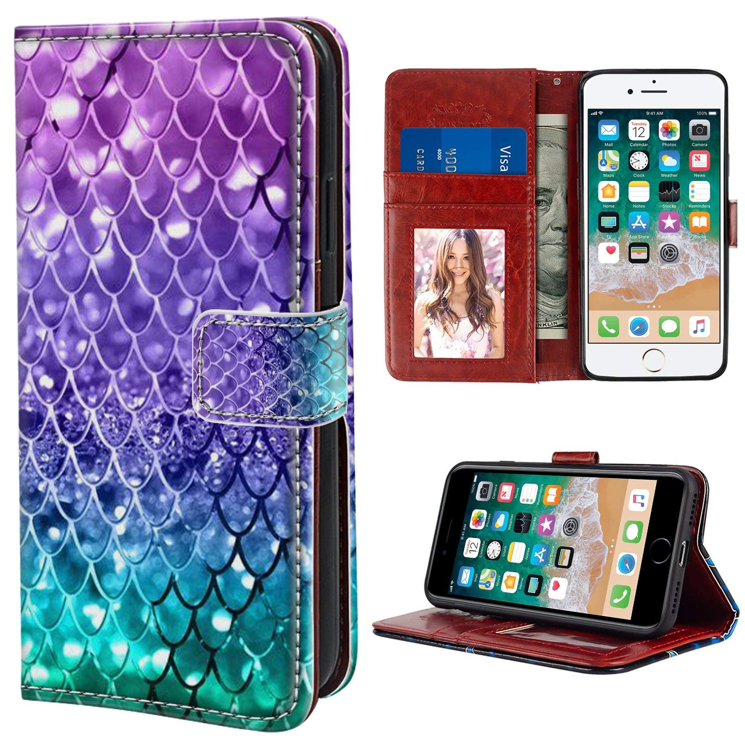 online store b0186 f8f46 YaoLang iPhone 7/8 Plus Wallet Case, Mermaid Scales PU Leather Standable  Wallet Phone Case with Card Holder Magnetic Hold for iPhone 7/8 Plus