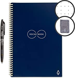 """Rocketbook Everlast Smart Reusable Notebook - Dotted Grid Eco-Friendly Notebook with 1 Pilot Frixion Pen & 1 Microfiber Cloth Included - Midnight Blue Cover, Executive Size (6"""" x 8.8"""")"""