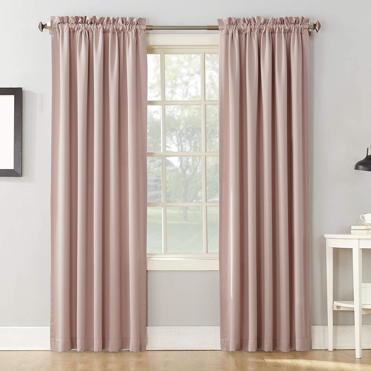 "Sun Zero Barrow Collection Rod Pocket Room Darkening Panel, 54"" x 84"", Blush Pink"