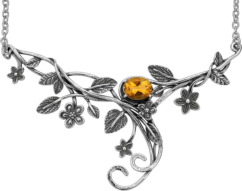 PZ Paz Creations 925 Sterling Silver Floral Swirl Gemstone Statement Necklace