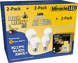 MiracleLED 604140 2X Bug Light Max Bulbs Home-Makeover Combo Pack (6 Pack), Yellow/White