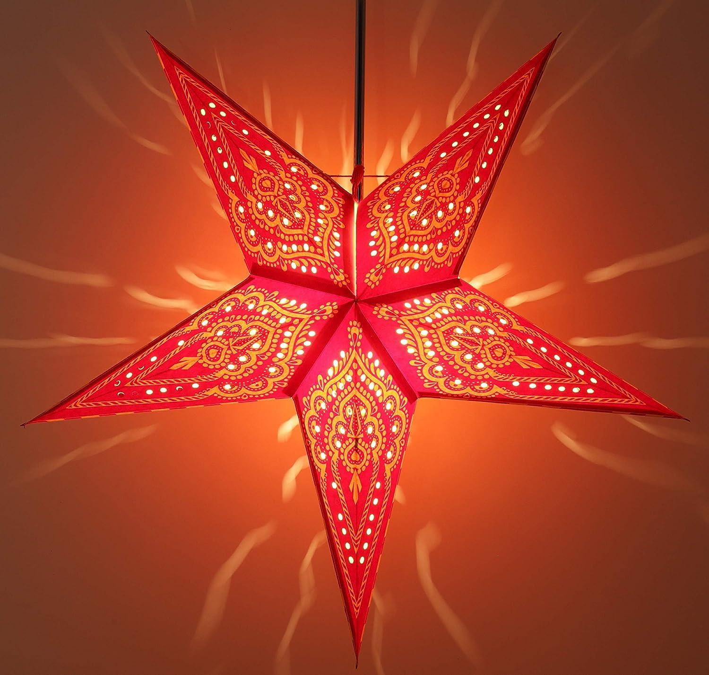 Multicolor Estrella de Navidad Scorpius Guru-Shop Estrella de Adviento Plegable de Papel Starlight Estrellas de Papel Rojo 60x60x20 cm